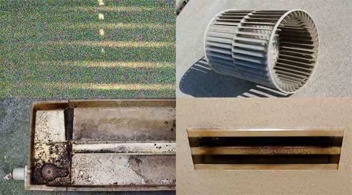 クリーニング前の天井ビルトイン形エアコン