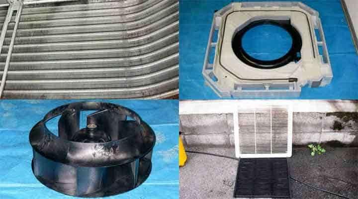 クリーニング後の天井カセット形エアコン