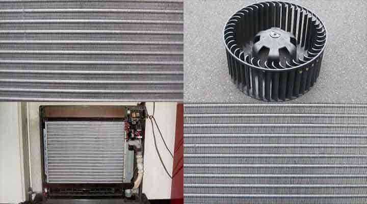 クリーニング後の床置形エアコン