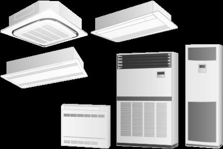 天井カセット形エアコンと床置形形エアコン