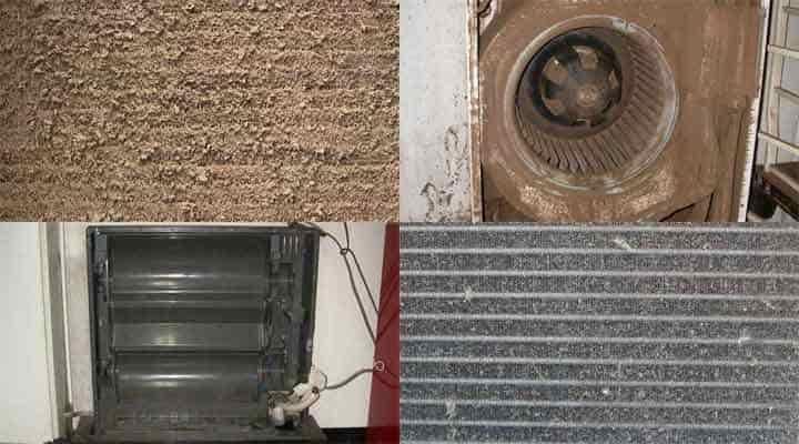 クリーニング前の床置形エアコン